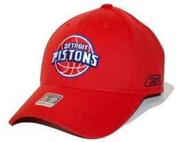 Detroit Pistons Reebok NBA Basketball Team Logo Stretch Fit Cap Hat SM/MD - $18.99