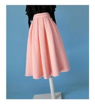 Women Winter Warm Wool Skirt Midi Full Pleat Skirt Winter Party Skirt,BLUSH PINK