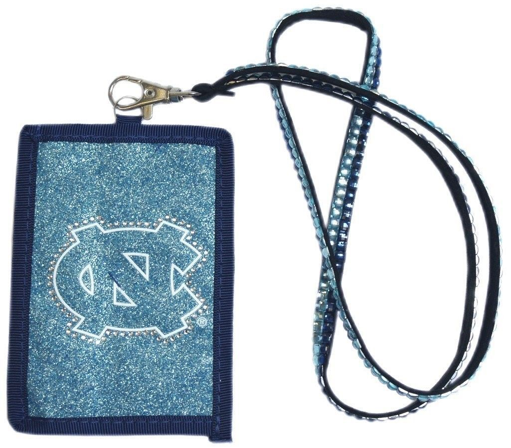 NORTH CAROLINA TAR HEELS BEADED LANYARD ID CREDIT CARD ZIPPER POCKET WALLET