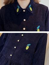 Maternity Dress Solid Color Long Sleeve Turn Down Collar Fashion Shirt Dress image 5