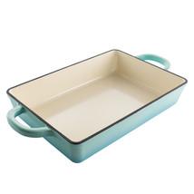 Crock Pot Artisan 13 Inch Rectangular Enameled Cast Iron Bake Pan in Aqu... - $80.10