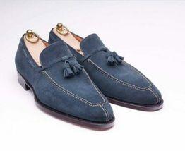 Handmade Men's Navy Blue Slip Ons Loafer Tassel Shoes image 1