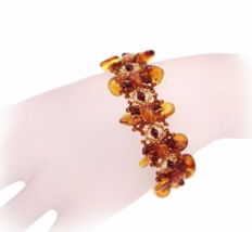 Genuine Baltic amber designer bracelet, vintage inspired - $115.00