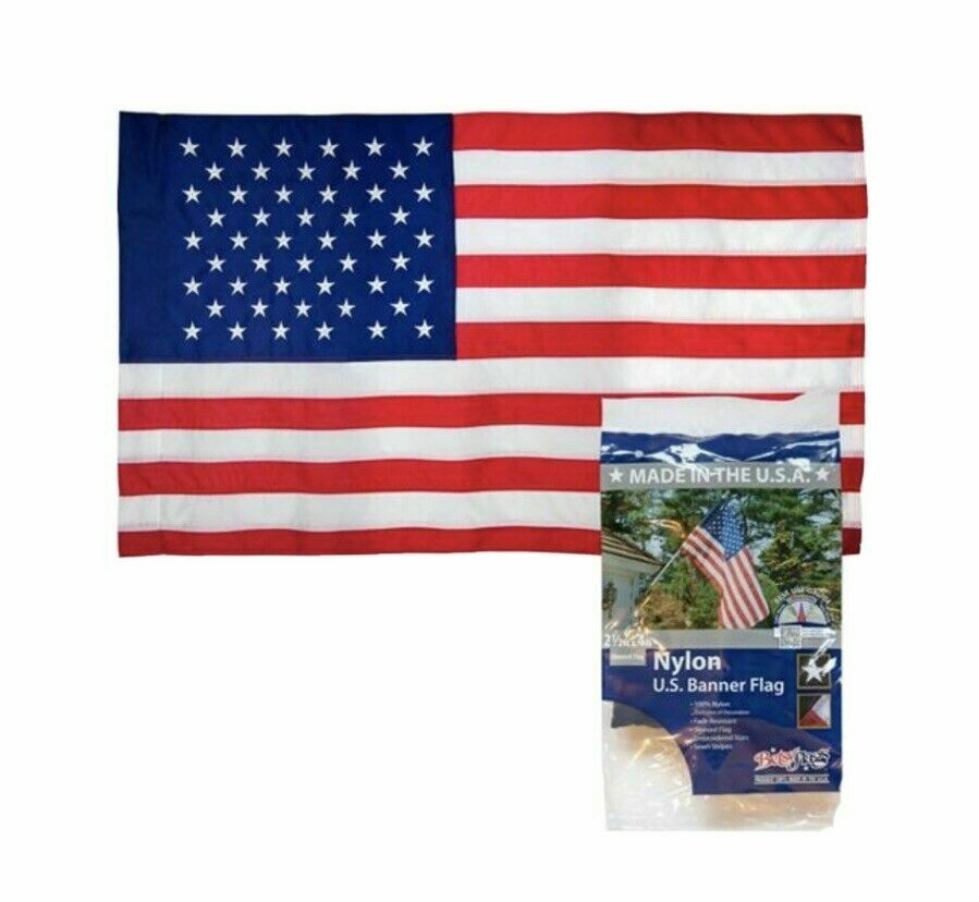 Pole sleeved AMERICAN FLAG 2.5 X 4 Ft Sewn Stripes Embroid Stars US. MADE IN US