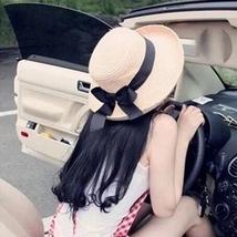 Summer Sun Hat Bowknot Ribbon Flanging Straw Beach Caps Head Circumference xks - $14.99