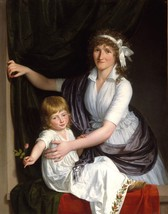 Portrait of a Mother and Child by French School Artist Old Masters 13x16 Print - $39.59