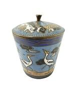 """Antique Dragon Cranes Snuff Box Spice Pot Canister Cloisonné Blue Enamel  2""""  - $29.50"""