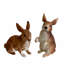 "Lefton Pair of 2 Brown Rabbits Easter Bunny H6664 3.5"" Tall & 4"" Tall No... - $32.51"