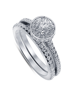 Pure 925 Silver 14K White Gold Fn Round White Diamond Bridal Engagement ... - $71.59