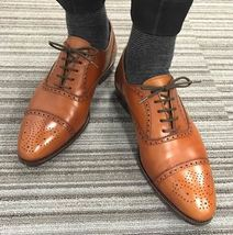 High quality Handmade cowhide leather men's oxford shoes, formal shoes,men shoes - $144.99+