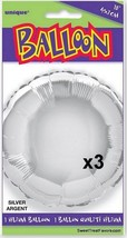 Silver Party Shower Favors Balloon Decoration Mylar Round Supplies x3 Fo... - $8.80