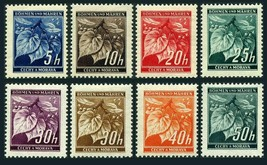 Linden Leaves Set of 8 WWII Bohemia and Moravia Stamps Catalog Number 20-26 LH