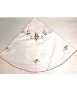 Vintage Christmas Tablecloth Tree Skirt Handmade Applique Santa Candles ... - $123.74