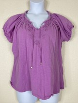 Charter Club Womens Plus Size 1X Purple Floral Embroidered Blouse Short ... - $9.90