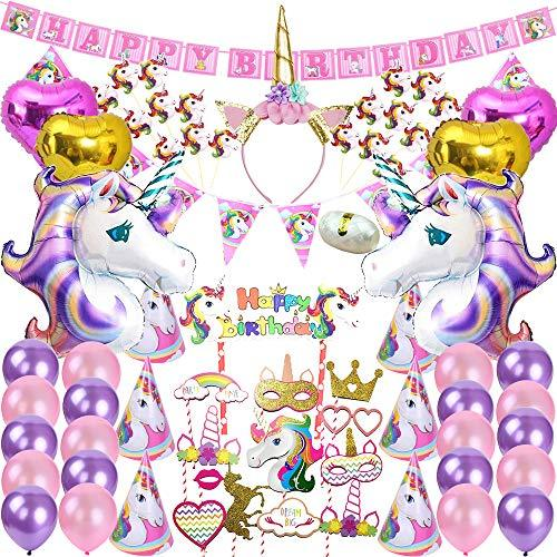 82 Pcs Unicorn Party Supplies Pack Decoration Birthday Gifts for Girls Kids Birt