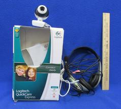Logitech QuickCam Express Web Cam USB Port CD & Instructions Acoustics Headphone - $18.80