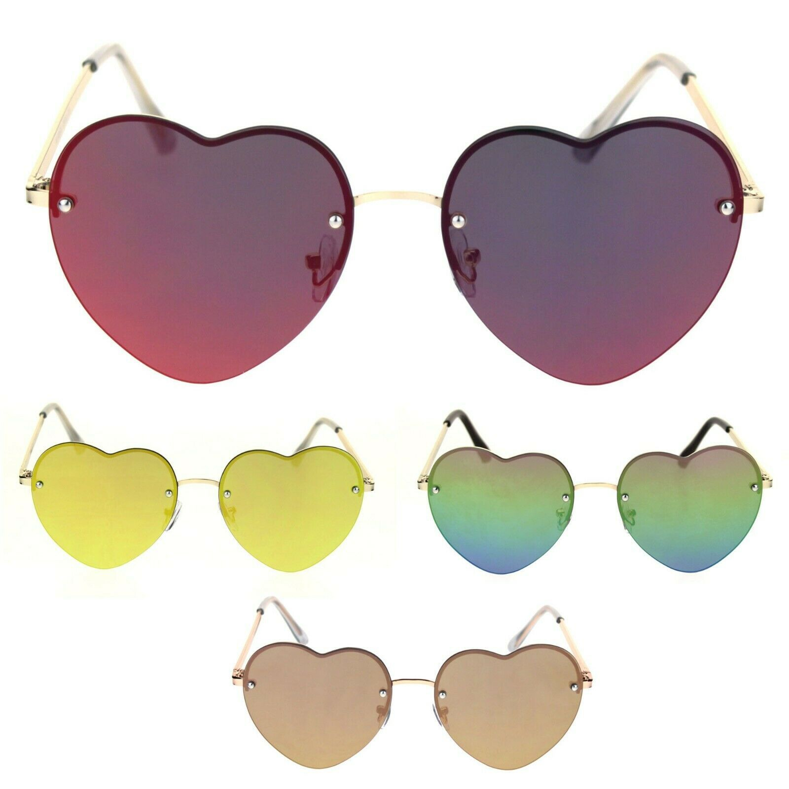 Womens Rimless Heart Shape Color Mirror Luxury Sunglasses