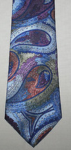 Mervyns Windridge Paisley Necktie 4 x 56 Blue Purple 100% Polyester Tie - $9.85