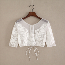Wedding Long Sleeve Lace Crop Top Women White Floral Crop Lace Shirts Plus Size image 7