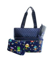 Quilted Robot Print Monogrammable 3 Piece Diaper Bag With Changing Pad T... - $25.73