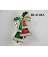 Beatrix Enamel Red and Green Bells Figural Pin Vintage Jewelry - $11.69