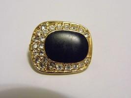 Vintage Diamond Black Stone Tone Brooch Pin Costume Fashion Jewelry - $9.66