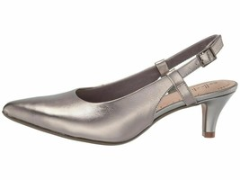 Clarks Linvale Loop Pewter Leather Women's Slingback Pointy Pumps 40027 - $49.00