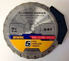 "Irwin 15130TAL Classic Series 7-1/4"" x 24T Framing & Ripping Saw Blade 5... - $17.82"