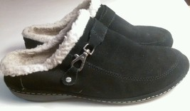 Womens Lands End Fleece Lined Slip On Black Suede Slippers 9B - $15.07
