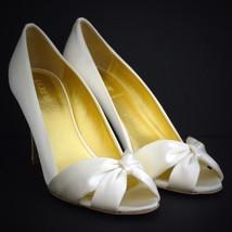 6f33a332f55 J Crew Martina Satin Heels 9 Peep Toes Pumps Italy Ivory 20360 Bow Shoes.