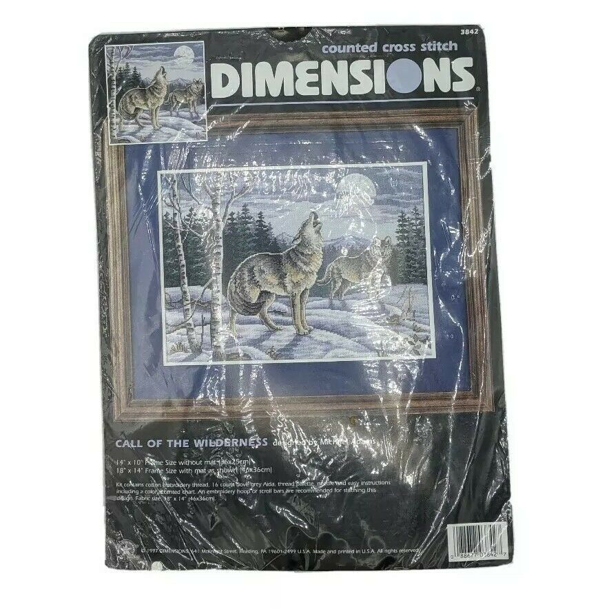 NOS Dimensions Counted Cross Stitch Kit 3842 Call Of The Wilderness 14x10 Wolves - $24.95