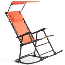 Zero Gravity Folding Rocking Chair Rocker Porch-Orange - $84.49