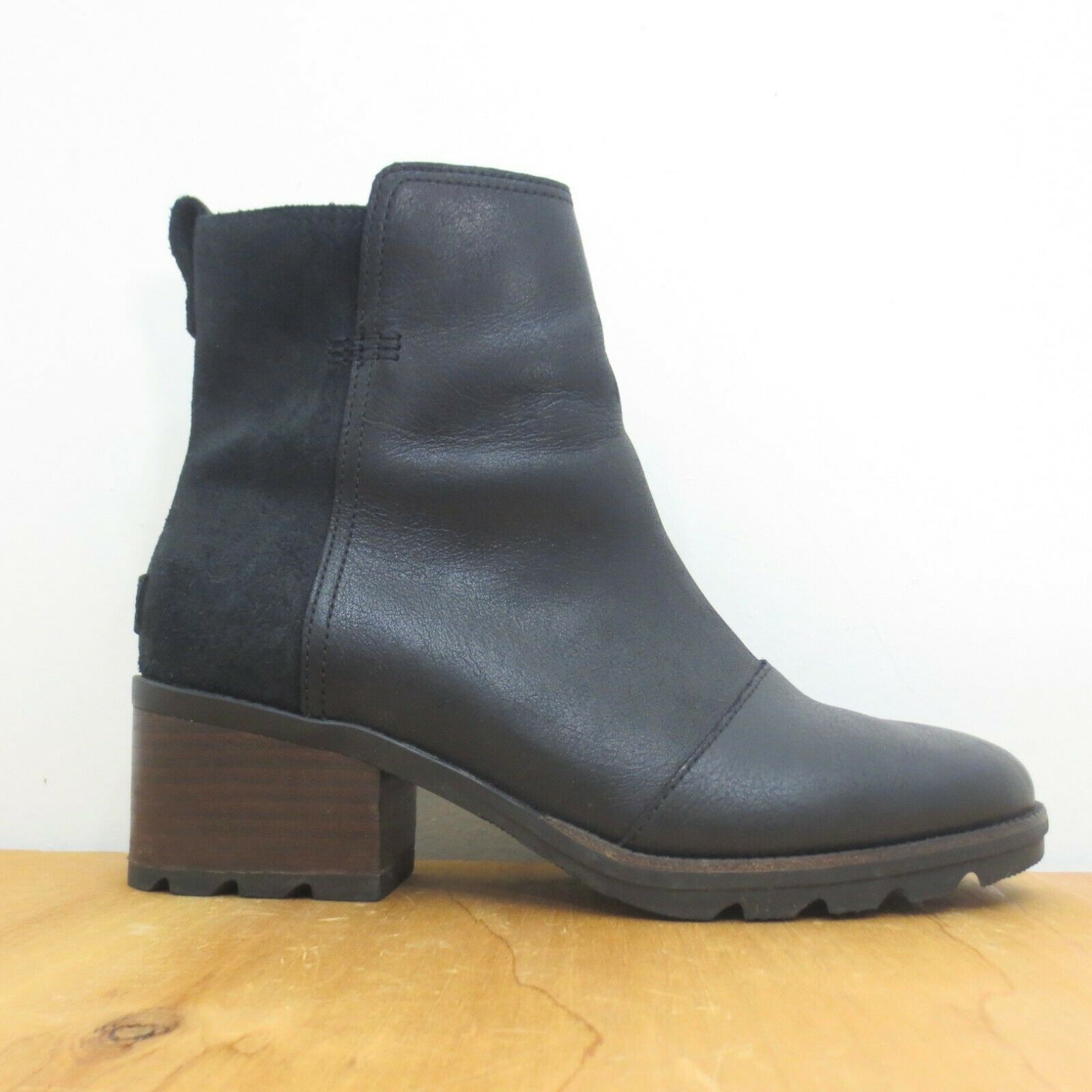 Primary image for 8.5 - Sorel Black Cate Leather & Suede Waterproof Heeled Ankle boots 1230KZ