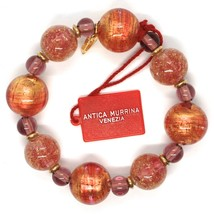 Bracelet Antica Murrina Venezia, Murano, Spheres Large, Purple Orange, Glitter image 2