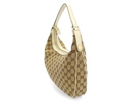 GUCCI Shoulder Bag GG Canvas Leather Beige Ivory Hobo 153010 Authentic 5... - $275.36