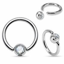 "Captive Nipple Ear Ring 14 Gauge 1/2"" w/Clear 6mm Gem Ball Steel Body Jewelry - $6.99"