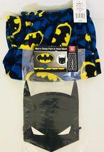 Batman Signal Mens Fleece Pants Blue Yellow Pajama Lounge Medium With Mask - $22.63