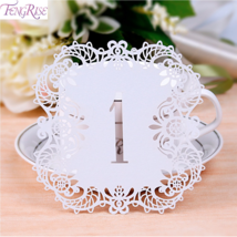 Fengrise® 10 pcs Rustic Wedding Table Number Cards Laser Cutting Vintage... - $4.85+