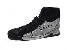 BE&D by Maison Dumain Glitter Silver Shoe on Black Canvas Men Casual or Sports W - $54.99