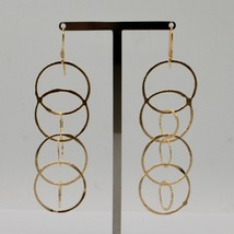 Drop Earrings 925 Silver Gold Foil & Circles by Maria Ielpo Made in Italy image 2