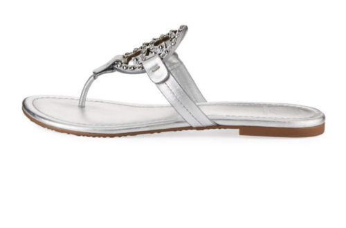 77aa13a75 NIB Tory Burch Miller Embellished Crystal Stud Leather Sandal Silver 9.5   228