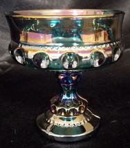 Vintage Indiana Glass King's Crown Blue Carnival Compote (circa 1970s) - $13.50