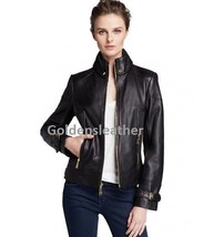 DESIGNER WOMEN BIKER LEATHER JACKET MOTORCYCLE JACKET RACER LEATHER JACK... - $129.13
