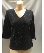 Christine Alexander v-neck black shirt white fitted radient lines size m... - $46.40