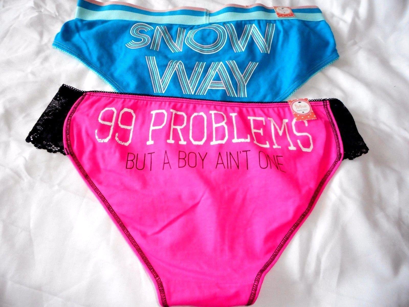 Women's Flirtitude Bikini Panties Set of 2 Medium Snow Way & 99 Problems  60 - $13.85