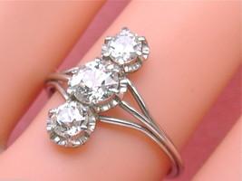 VINTAGE 1.20ctw EURO DIAMOND TRILOGY TRINITY VERTICAL 3-STONE COCKTAIL R... - $2,569.05