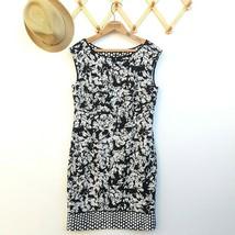 Ann Taylor Sleeveless Sheath Dress Size 10 Black Ivory Print Knee Length... - $26.09