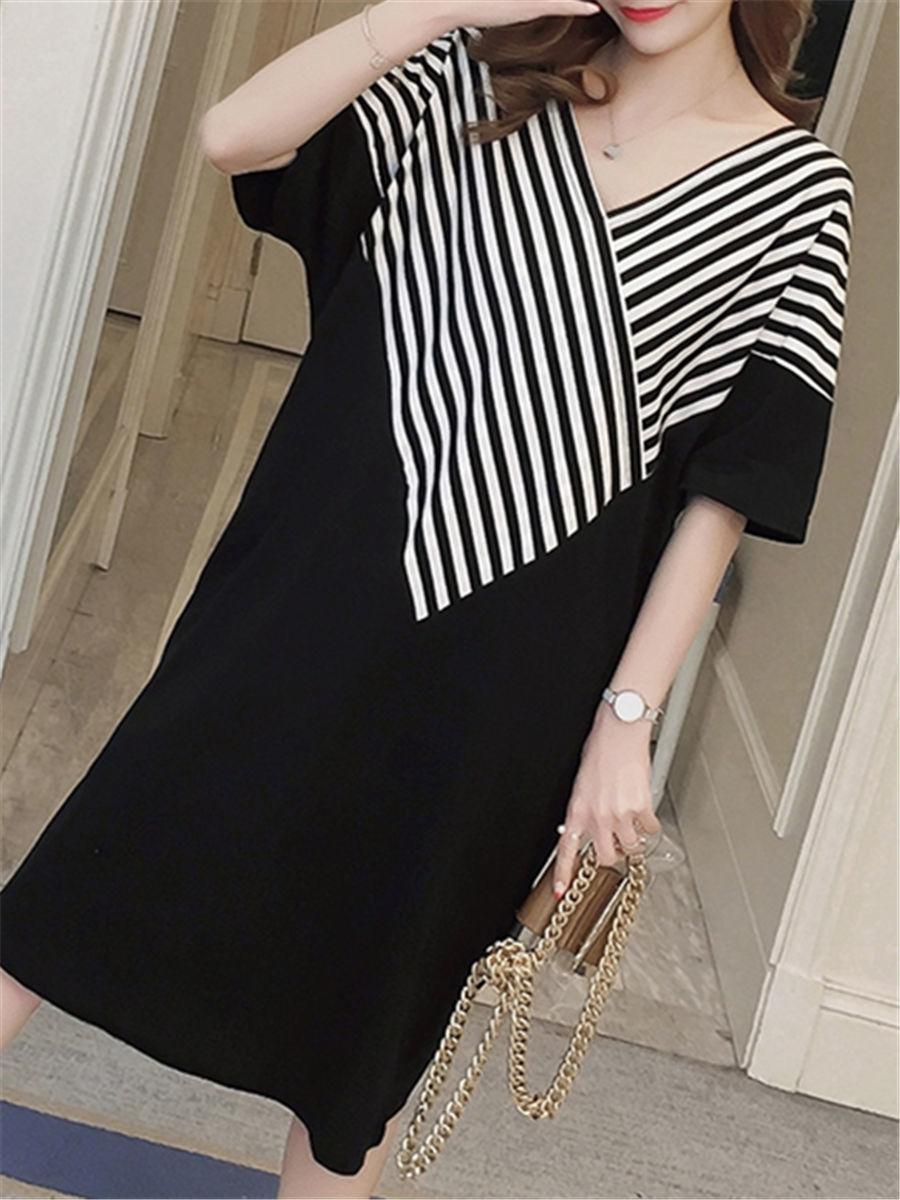 Maternity Dress Patchwork Color Block Stripes Batwing Sleeve V Neck Loose Dress image 7