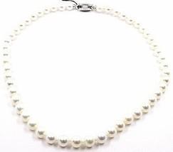 Collar Oro Blanco 18K, Perlas 8-8.5MM, Blancas, Freshwater, Alta Calidad - $1,625.61