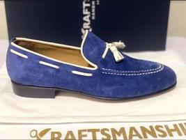 Handmade Men's Blue Suede Slip Ons Loafer Dress/Formal Shoes image 4